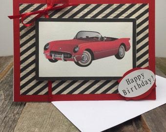 Happy Birthday Card, Happy Birthday Car Card, Happy Birthday Classic Car Card, Happy Birthday Red Car Card, Birthday Card