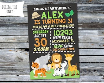 Jungle Invitation / Safari Birthday Invitation / Jungle Birthday Invitation (Personalized) Digital Printable File