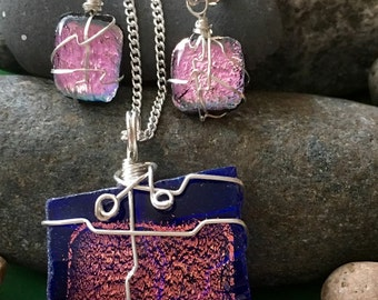 Dichroic Blue Pink Glass with Pink Necklace & Earrings Set