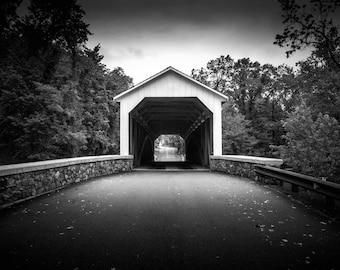 Covered Bridge Black and White Photo Prints