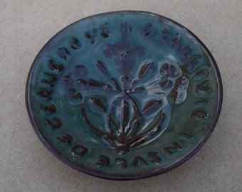 Guernsey Glazed Ceramic Dish - Guernsey Lily - Vintage Guernsey Pottery