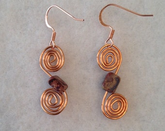 Copper swirls with agate square
