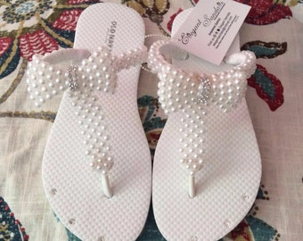 Hand made bow tie pearl flipflop #2