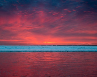 Waddell Beach Sunset - Pacific Ocean Sunset California Coast - Fine Art Print - 8x10 11x16, Landscape Photograph