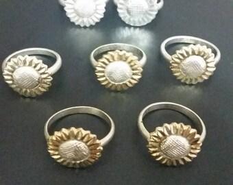 Sunflower Power: Vintage Aluminum ring lot. Friendship rings. Summer Time Fun