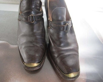 Vintage 70s shoes leather boots lace ankle 40/7