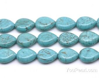 Turquoise beads, 13x18mm teardrop, turquoise stone beads, howlite teardrop shape beads, one full strand, gemstone beads jewelry, TQS3120