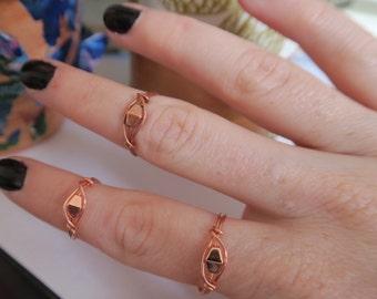 Handmade copper geometric ring