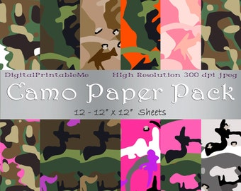 Camouflauge digital paper, camo, printable, instant download, Cammo, Patterns, military, hunter, hunting wedding patterned paper, background