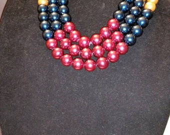 Red, Blue, and Yellow 3 strand necklace