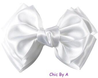"Large Satin Hair Bows,Large 5"" Hair Bows for Girls,White Big Hair Bow,Large Hair Bow, Special occasion"