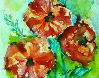 Red Poppies Print Floral Wall Art Printable Flowers Digital Download Art Printable Artwork Watercolor Poppies Flowers Print Instant Download