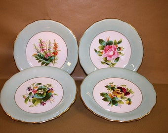 4 Hand Painted Floral Vintage Ceramic Plates