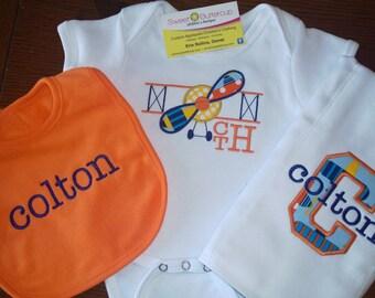 Baby Boy Airplane themed Bodysuit, Burpcloth, Bib set
