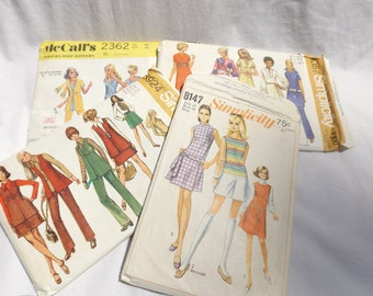 Vintage Sewing Patterns Simplicity McCalls 1970s fashion set of 4