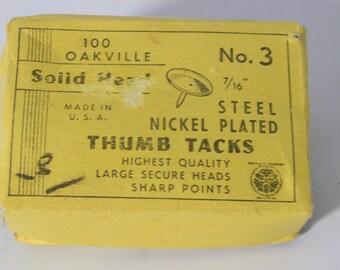 "Steel Thumb Tacks / Nickel Plated Solid Head Made in USA 7/16"""