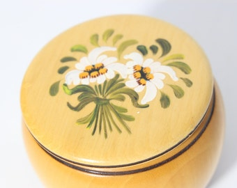 Natural  Laquered Wood Hand Painted Trinket Box / Pine Wood Jewelry, Proposal Ring Box