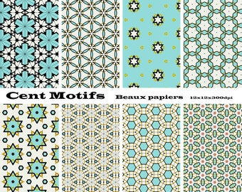 Digital papers of qualifications for crafts, scrabooking, collage, geometric shapes.