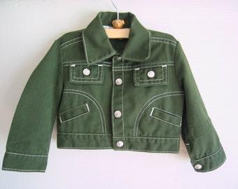 SALE 70's Army Green Jacket, Size 3 -- Boys Jacket Size 3 -- Kids Denim Jacket -- Vintage Kids Clothes -- 70's Vintage Clothes for Kids