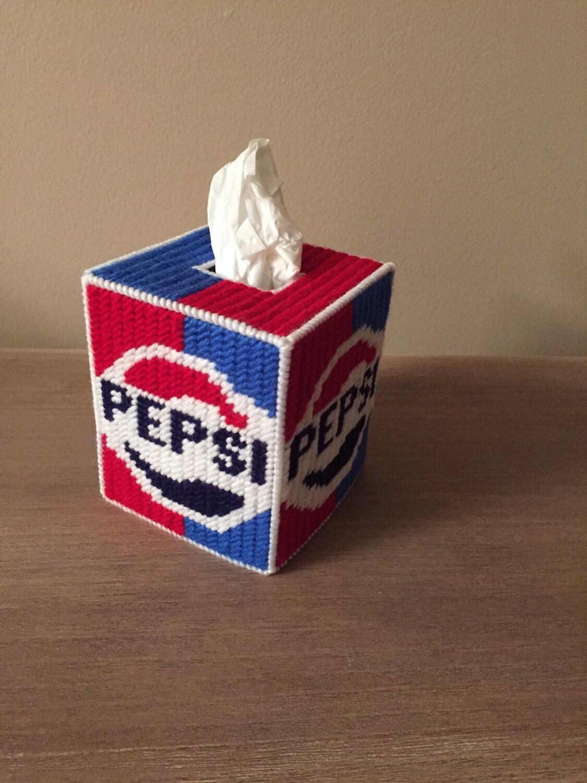 Pepsi Handmade Plastic Canvas Tissue Box Cover
