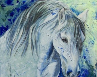 Painting on canvas, gray horse, blue, square format 40cmx40cm
