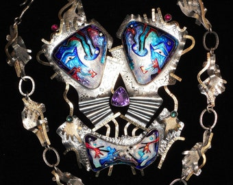 Massive C.R. Dunetz Cloisonne Enamel Sterling Silver, 14K, 22K Necklace