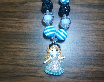 Wonderland Princess Rhinestone Pendant Toddler Bubblegum Necklace
