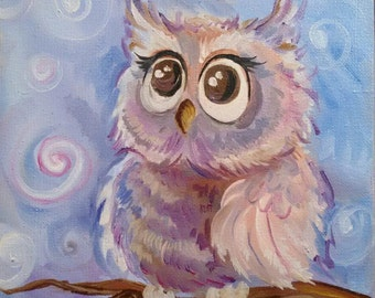 Owl Original Oil Painting 20 * 20 cm