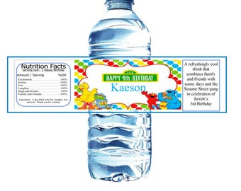 Sesame Street Inspired Water Bottle Labels Featuring Elmo, Big Bird, Oscar and Cookie Monster Birthday Set of 10