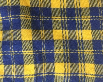 Blue and gold flannel, flannel headband, flannel bow, nylon headband, alligator clips, piggytail bows, hair bow, baby bow, flannel accessory