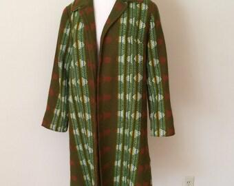 1970's Green/Brown Plaid Coat