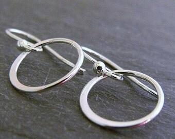 Silver Hoop Earrings, Sterling Silver Dangling Circle Earrings, Hoop Earrings, Sterling Silver Jewelry, Mother's Day Gift, Girlfriend Gift