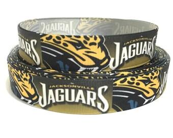 7/8 Jacksonville Jaguars Ribbon, Jaguars Grosgrain Ribbon, NFL jaguars Ribbon, Jaguars Sports Ribbon