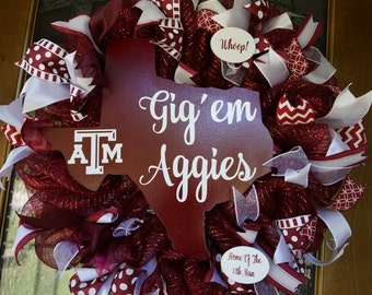 Texas Aggies Wreath, Texas A&M Wreath, Texas Aggies Door Sign, Aggies Wreath, Aggie Wreath, Aggie Decor, Aggie Door Hanger