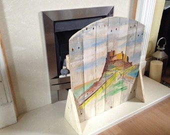 Lindisfarne Castle painted Fire Screen made with recycled Pallet Wood