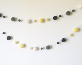 Quality Felt Ball Garland- Pom Pom Garland - Navy-Yellow Nursery Decor -Choose Size
