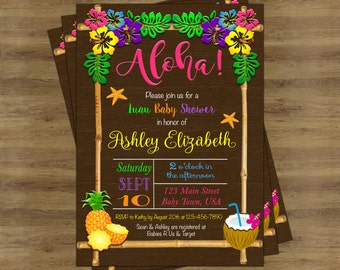 Aloha Baby Shower Invitation Hawaiian Luau Baby Shower