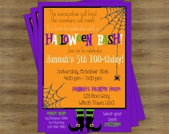 Halloween Birthday Invitation; Halloween Party Invitations; Halloween Invitation; Costume Party Invitation; Halloween Invite