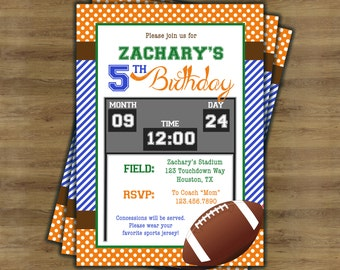 Football Birthday Invitation for Boys; Football Party Invitations; Football Invitation; Football Theme Party; Boy Birthday Invitation;