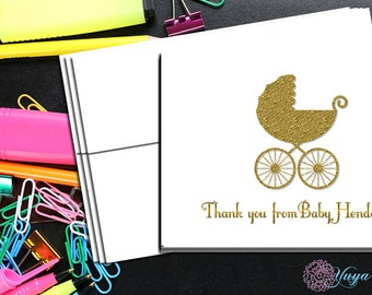 Gold Baby Carriage Personalized Stationery / Custom gold Stationery / Custom Baby Shower Stationery / Baby Carriage Stationery / Set of 12