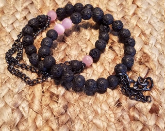 Black lava with Pink glass beads set