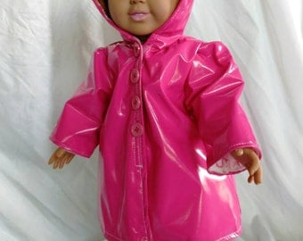 18 in doll clothes, Raincoat with hoodie and matching boots, hot pink