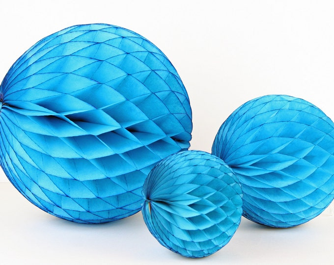 "Turquoise Tissue Paper Honeycomb Ball - 5"" // Party Decoration for Birthday or Wedding, Bridal or Baby Shower // Photo Prop or Backdrop"