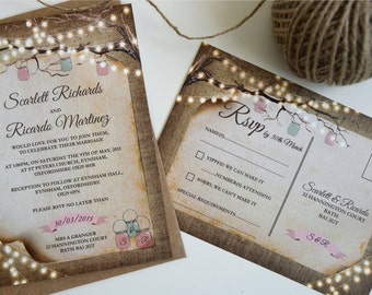Rustic Lights Wedding Invitation Set Sample