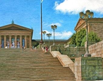 Rocky Steps, Philadelphia Museum of Art, Philadelphia, Urban Art, Urban Architecture, Fine Art Print, Philly, Philadelphia Decor