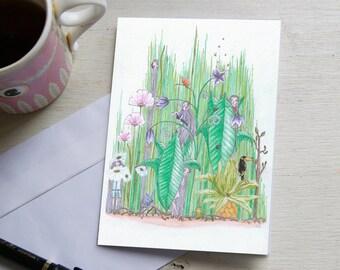 Postcard of Art, flower-girls.