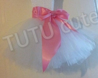 White TUTU dress with Pink bow, Princess tutu dress, fairy tutu dress, bridesmaid dress, flowers girls dress