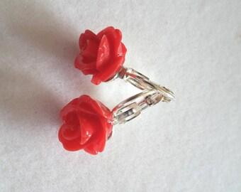Red Flower Resin Earrings