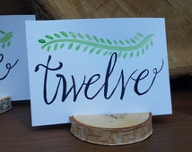 Rustic Hand Drawn, Hand Painted Custom Table Numbers with Wooden Tree Slice Holder- Rustic Decor- Wedding Decor- Table Decor