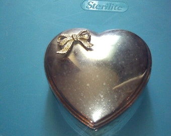 Silver Plated Box - Heart shaped silver plated jewelry box- Heart box with  bow on top